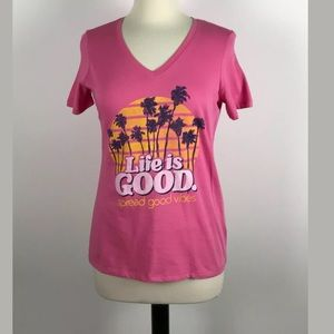 """Life Is Good """" Spread Good Vibes"""" Pink T-Shirt"""